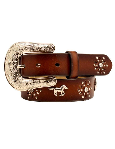 ARIAT GIRLS BROWN LEATHER HORSE CONCHO WESTERN BELT Style A1305202