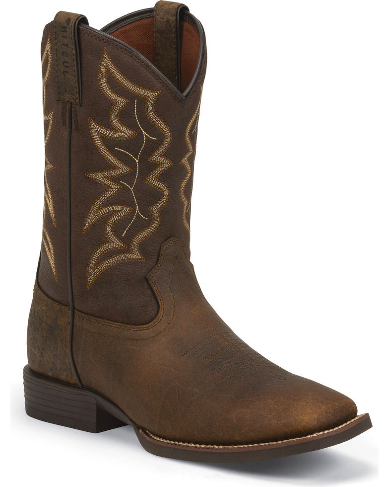 Justin Men's Stampede Square Toe Western Boots Style 7222