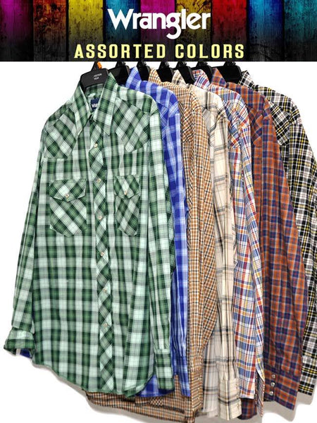 Assorted Wrangler Mens Western Long Sleeve Plaid Shirt Style 75204PP