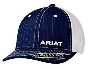Ariat Brand Blue Navy Pinstripe With White Stitching Snapback Hat Style 1517903
