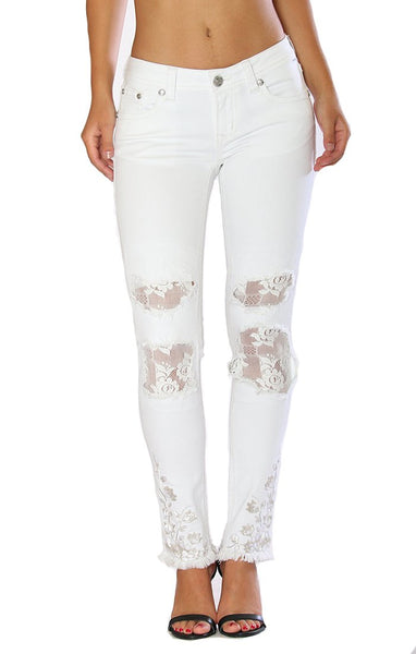Grace in LA White Lace-Detail Skinny Jeans Style JNW-81197WT