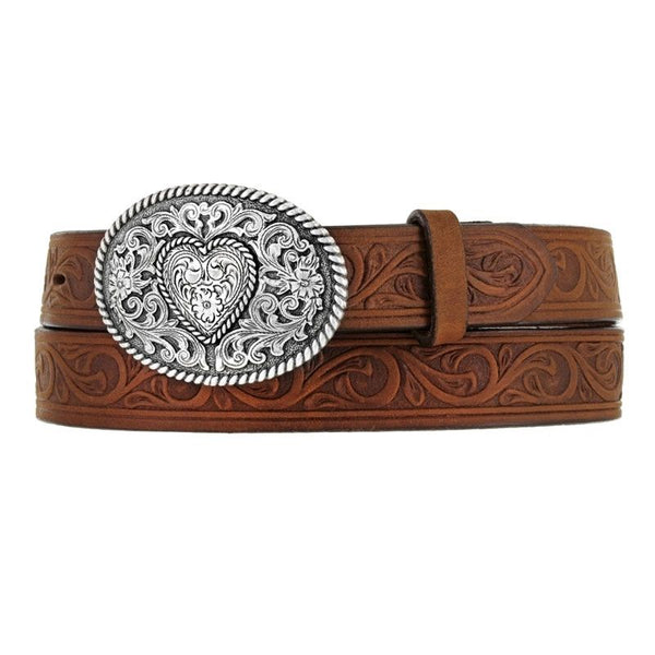 Leegin Justin Boots Girl's Western Scroll Heart Belt Style 815BD