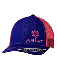 Ariat Brand Youth Girls Purple with Pink Mesh Snapback Hat Style 1518916