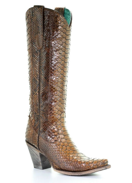 Corral Ladies Tan Full Python Snakeskin Zip-Up Knee-High Boots Style A3667