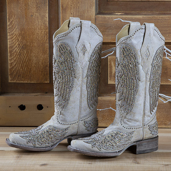 617745c4c00 CORRAL WOMEN'S SQUARE TOE WHITE CROSS & WING WESTERN BOOTS STYLE A3731 - 9  1/2