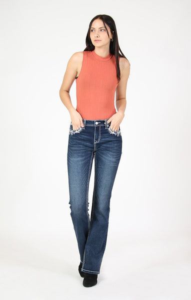 GRACE IN LA FLORAL HORSESHOE EMBELLISHED KNIT DENIM BOOTCUT JEANS STYLE 61402