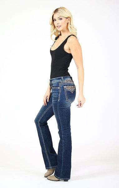 GRACE IN LA LEOPARD PRINT EMBROIDERED YOKE AND FLAP POCKET BOOTCUT JEANS STYLE 81394