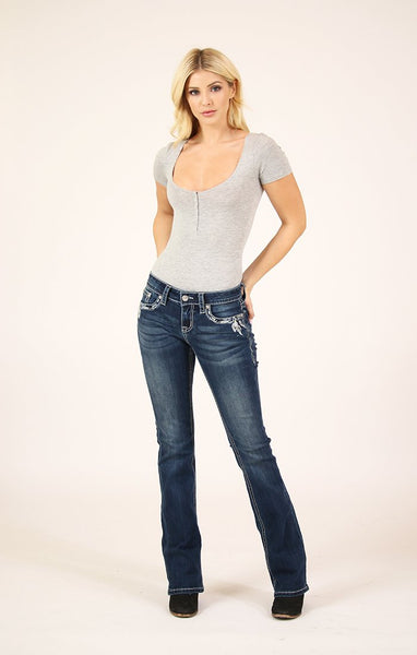 GRACE IN LA DREAMCATCHER PLEATHER EMBROIDERED LOW RISE BOOTCUT JEANS STYLE JB-71148