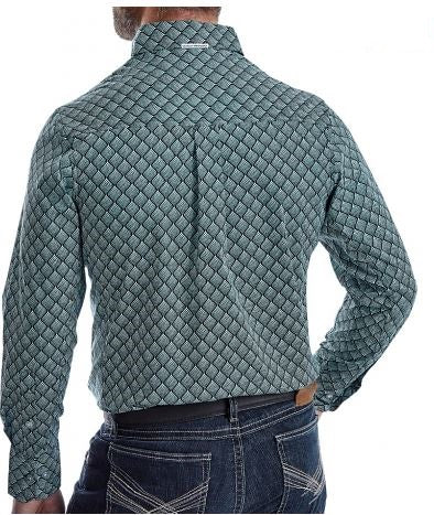 Wrangler Men's Black & Turquoise Print 20X Long Sleeve Competition Western Shirt Style MPC119M