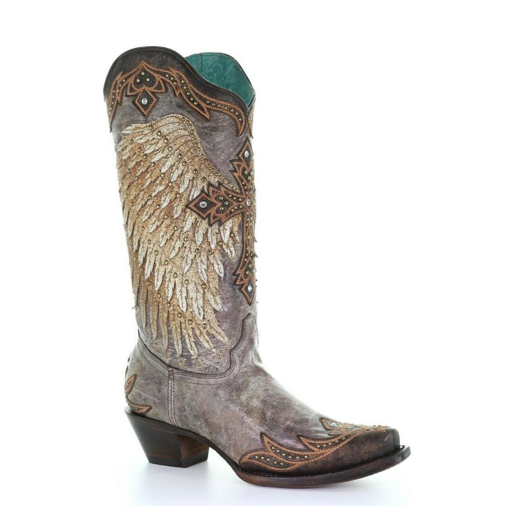 b0c9c2be260 Corral Ladies Brown Wings & Cross Embroidery & Crystals Boots Style A3771 -  9 1/2