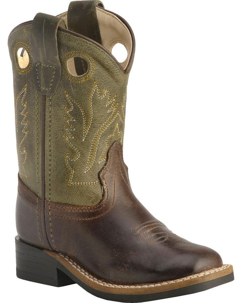 Jama Toddler Boys' Stitched Olive Cowboy Square Toe Boots Style BSI1877