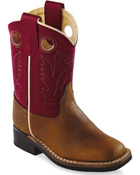 Jama Toddler Boys' Red Cowboy Square Toe Boots Style BSI1883
