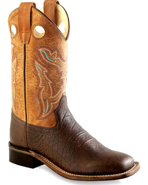 Jama Boys' Youth Brown Cowboy Square Toe Boots Style BSY1819