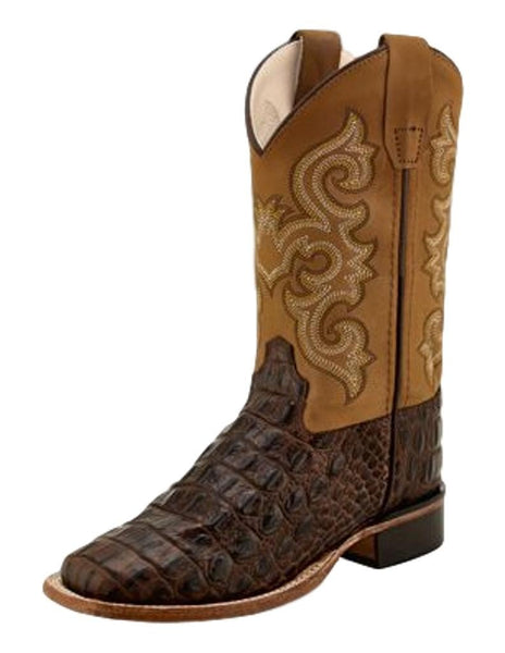 Jama Youth Brown Horn Back Gator/Tan Canyon Cowboy Boots Style BSY1830