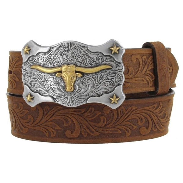 Leegin Tony Lama Kid's Leather Floral and Long Horn Belt Style C60119