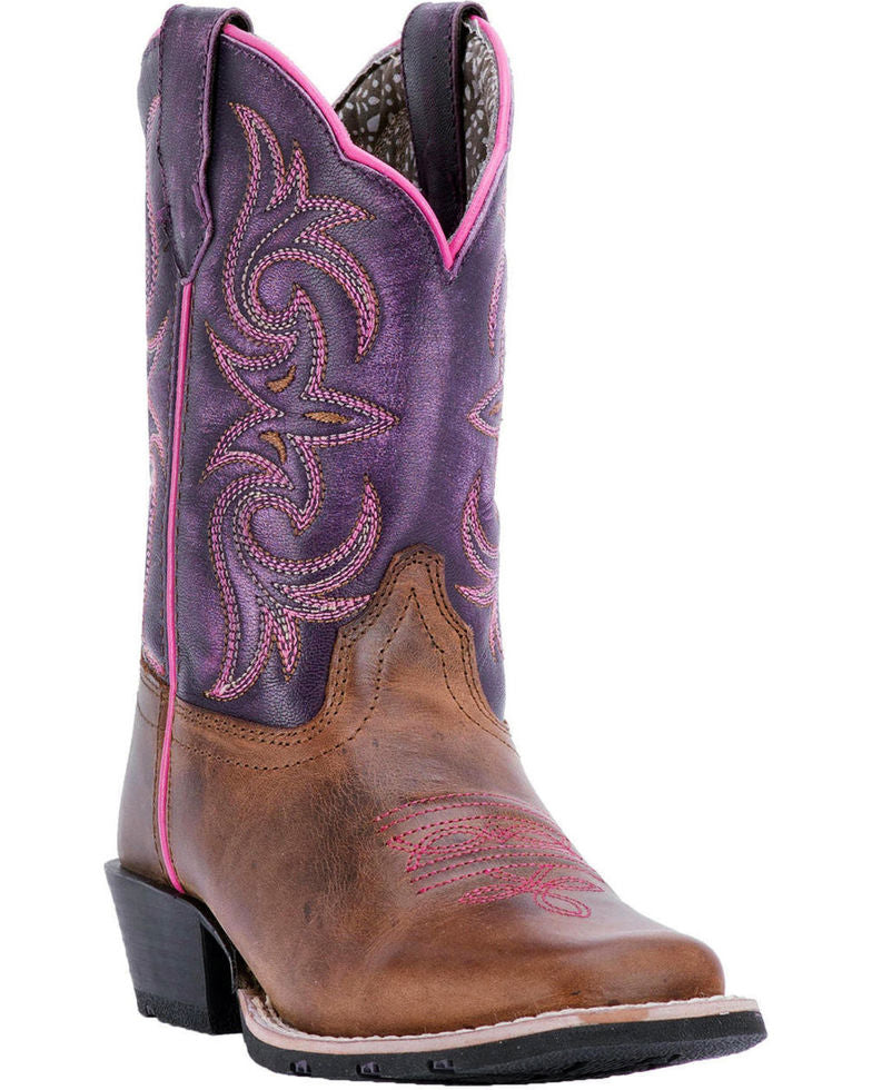 Dan Post Girls' Majesty Brown/Purple Western Square Toe Boots Style DPC2947