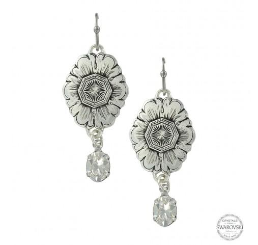 Montana Silversmith Antiqued Floral Pendant Dangle Earrings Style ER3320CZ
