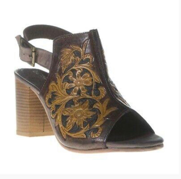 Roper Ladies Brown Tooled Open Toe Mule Sandals Style 09-021-0946-1277