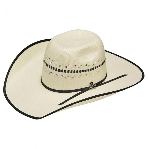Ariat Straw Golden Brown Hatband Bangora Hat, Ivory & Tan Style A73196