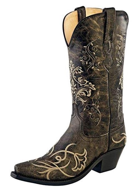 Old West Cowboy Boots Womens Goodyear Leather Vintage Charcoal Style LF1587  , 5