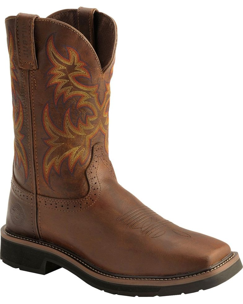 "Justin Men's 11"" Rugged Western Work Boots Style WK4681"