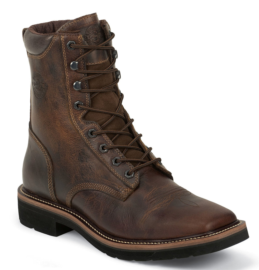 Justin Men's Stampede Brown Square Steel Toe Work Boots Style WK682