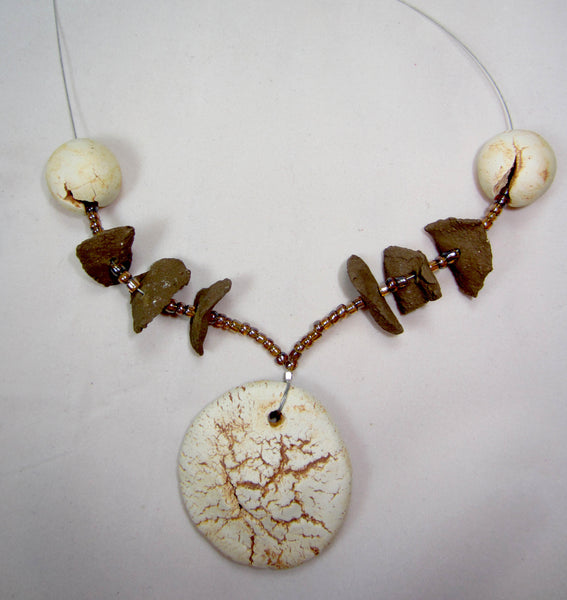 Cracked Cream and Brown Medium Necklace