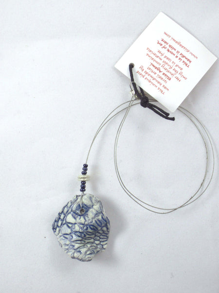 Stamped Blue Shard Short Necklace