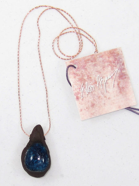 Brown and Blue Charm Short Necklace