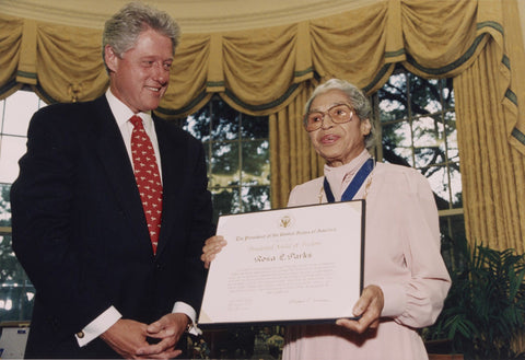 Rosa Parks Congressional Medal with Bill Clinton