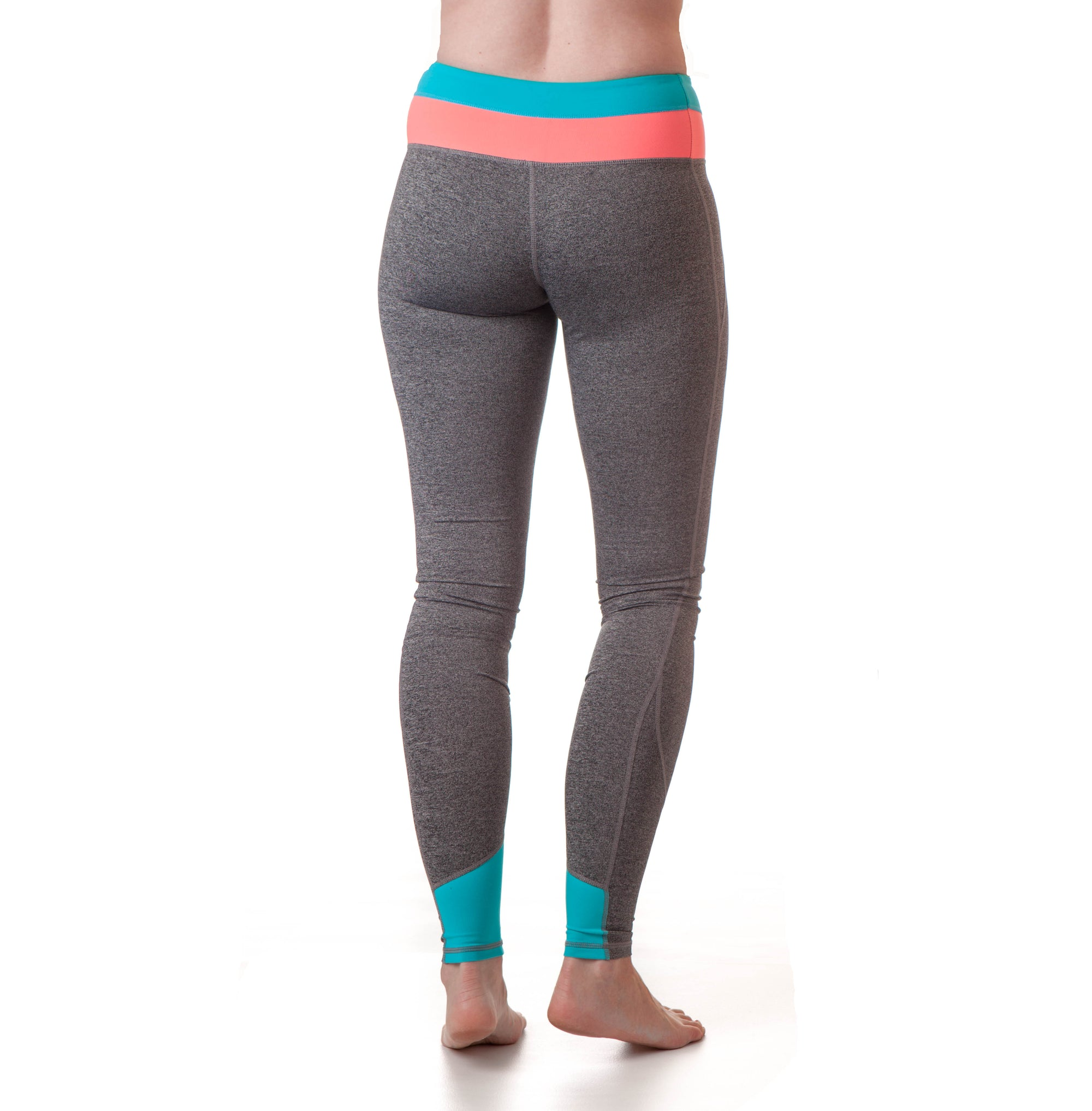 Extra Long Yoga Pants for Tall Women (Coral/Neon Blue) - Kindfolk Athletics