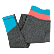 Extra Long Yoga Pants for Tall Women (Coral/Neon Blue)