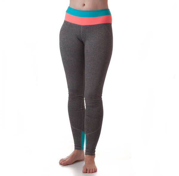 Extra Long Yoga Pants For Tall Women (Coral/Neon Blue