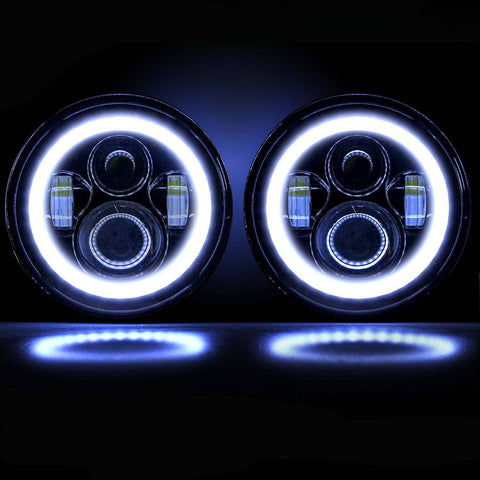 "7"" Halo LED CREE Headlights (Plug & Play) For Jeep Wrangler YJ TJ JK (76-Current) - JWM 4x4 Jeep Wrangler Products"