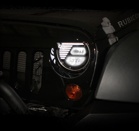"7"" Rugged Black LED CREE Headlights (Plug & Play) For Jeep Wrangler JK (07-Current)"