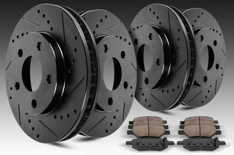 Front + Rear Black Slotted Drilled Rotors & Ceramic Pads For Jeep Wrangler JK (2007-2016)