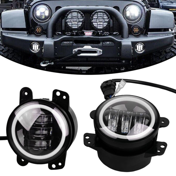 Halo LED CREE Fog Lights For Jeep Wrangler JK (2007-2017) - JWM 4x4 Jeep Wrangler Products