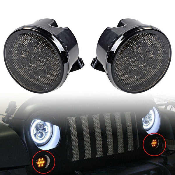 Smoked Front LED Turn Signal Lights For Jeep Wrangler JK (2007-2017) - JWM 4x4 Jeep Wrangler Products