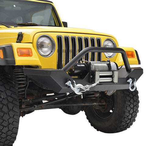 Rock Crawler Front Bumper with Winch Plate & D-Rings For Jeep Wrangler YJ TJ (1987-2006)