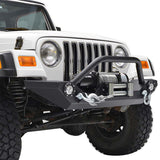 Rock Crawler Front Bumper with Winch Plate & LED Lights For Jeep Wrangler YJ TJ (1987-2006) - JWM 4x4 Jeep Wrangler Products