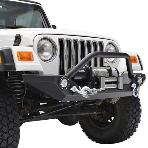 Rock Crawler Front Bumper with Winch Plate & LED Lights For Jeep Wrangler YJ TJ (1987-2006)