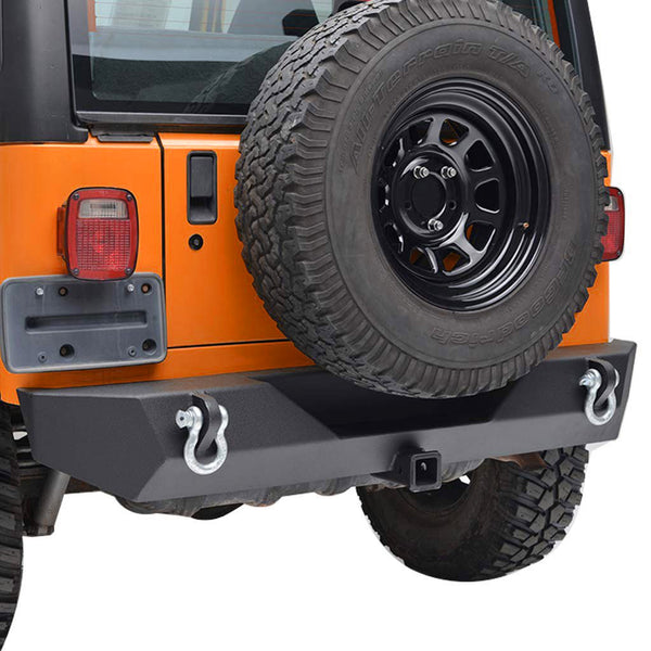 "Rock Crawler Rear Bumper with D-Rings & 2"" Hitch For Jeep Wrangler YJ TJ (1987-2006) - JWM 4x4 Jeep Wrangler Products"