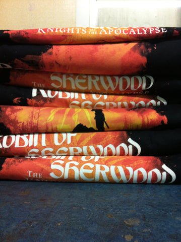 Screen printed t-shirts for robin of sherwood production
