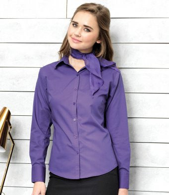 Premier PR300 - Ladies Long Sleeve Poplin Shirt Wizard Printers