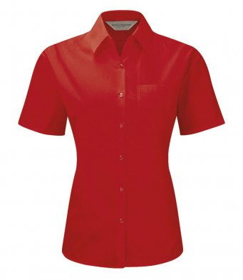Russell Collection Ladies Short Sleeve Poplin Shirt - 935F