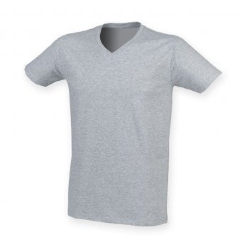 SF122 - Skinnifit V Neck Stretch T Shirt | Heather |