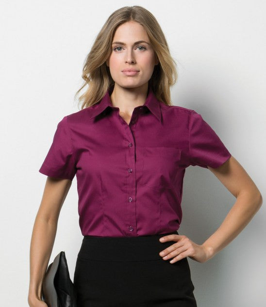 Kustom Kit K719 - Ladies Short Sleeve Corporate Oxford Shirt with Pocket Wizard Printers
