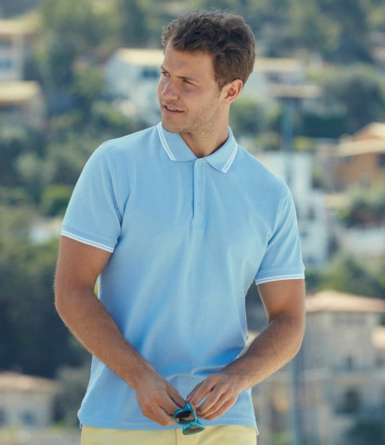 SS25 - Fruit of the Loom Premium Tipped Cotton Pique Polo Shirt Wizard Printers