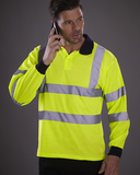 Hi-Vis Long Sleeve Polo Shirt - YK016 Wizard Printers