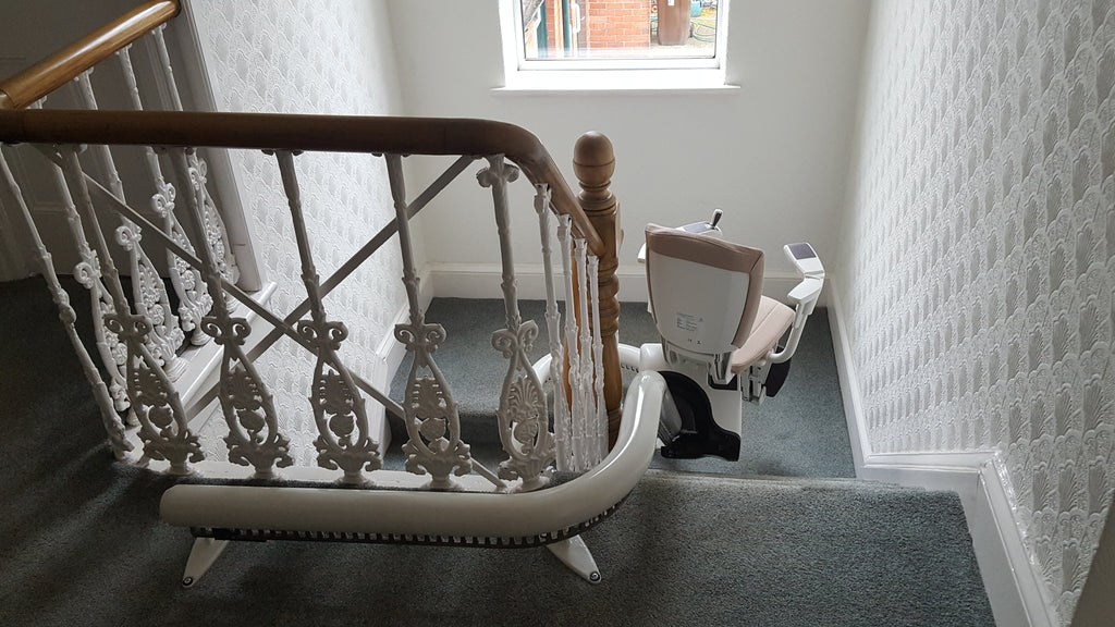 Install of Flow 2A Curved Stairlift In Ashton-In-Makerfield